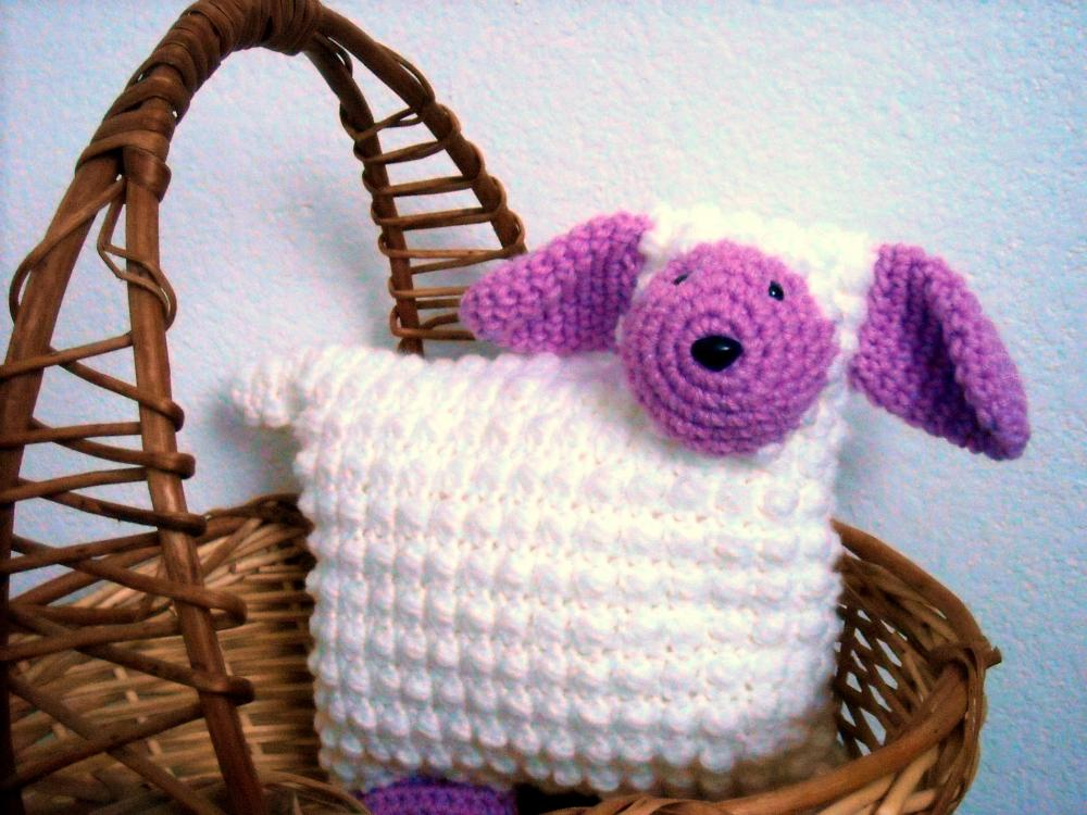 Lamb Animal Pillow Nursery Decor Crocheted