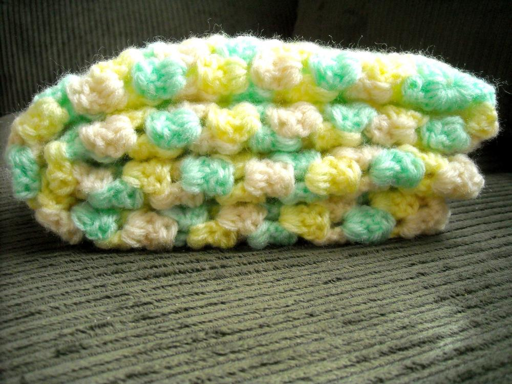 Crocheted Baby Blankey Colorful in Granny Square