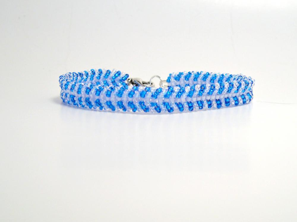 Bead Woven Bracelet Aqua Blue and Crystal