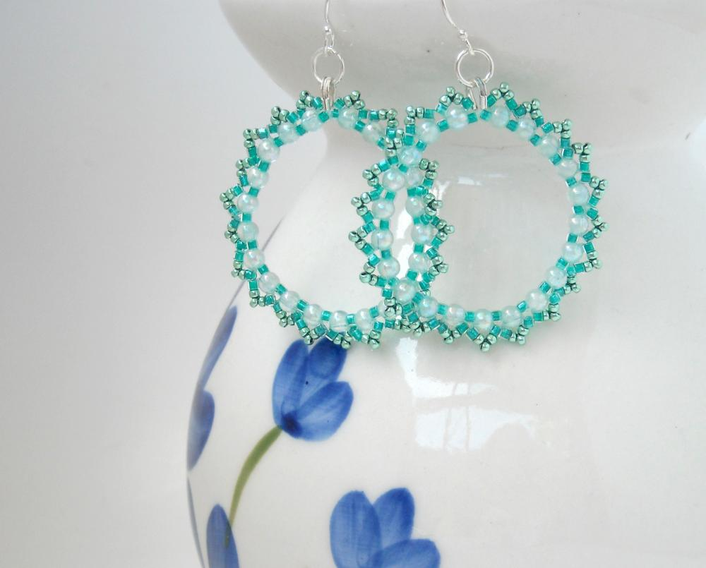 Beaded Hoop Earrings Mint Green Silver Wires