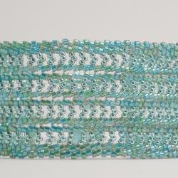 Bead Woven Bracelet Herringbone Stitch with Blue Green
