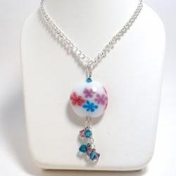 Lampwork Necklace Flowers and Crystals Summer Fashion