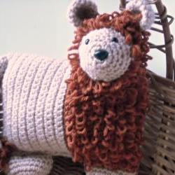 Nursery Animal Pillow Lion Crocheted